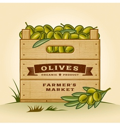 Retro crate of olives vector image