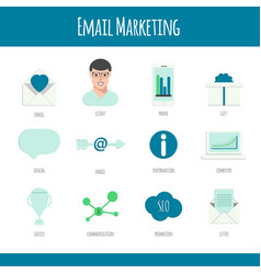 set of email marketing icons in flat design vector image