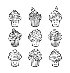 Set of monochrome sweet cupcakes isolated on white vector image vector image
