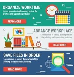Three horizontal banners organize worktime vector