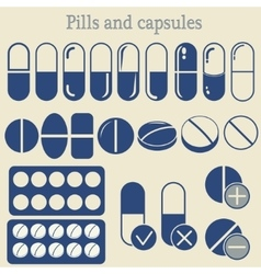 capsules and pill icon set vector image