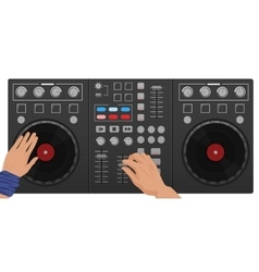 DJ hands playing vinyl Top view DJ Interface vector image vector image