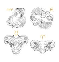 hand drawn zodiac sign aquarius pisces taurus vector image