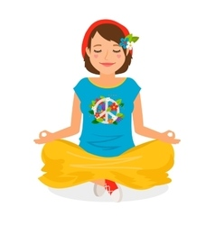 Hippie girl yoga meditation vector