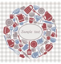 kitchen utensils circle vector image vector image