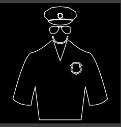 police white color path icon vector image vector image
