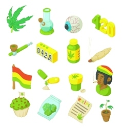 Rastafarian icons set cartoon style vector image