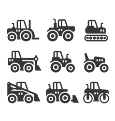 Tractors Farm and Buildings Machines Icons Set vector image vector image