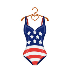 Women swimsuit closed with the flag of america vector