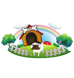 A dog with a doghouse vector image vector image