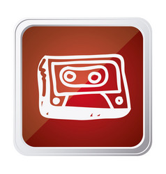 button of cassette tape with background red and vector image