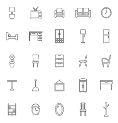 Furniture line icons on white background vector