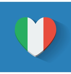 Heart-shaped icon with flag of Italy vector image vector image