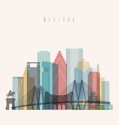 houston state texas skyline detailed silhouette vector image