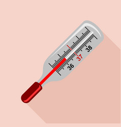 medical mercury thermometer icon flat style vector image vector image