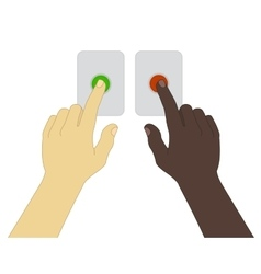 Hands pressing green and red buttons vector image