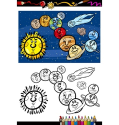 solar system cartoon coloring book vector image vector image