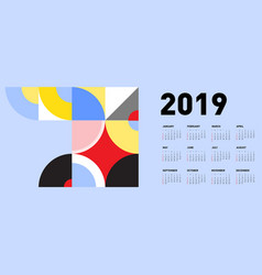 2019 calendar design template with colorful vector