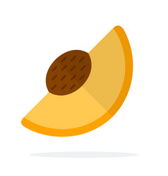 A piece apricot with a stone flat isolated vector