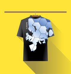 Abstract black shirt with europe blue logo vector