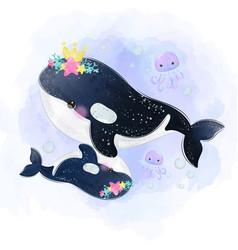 Adorable orca whale motherhood in watercolor vector