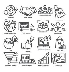 Advertising and marketing line icons vector