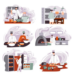 bakery shop production restaurant or cafe cook vector image
