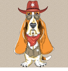 Basset Hound breed clothing sheriff vector