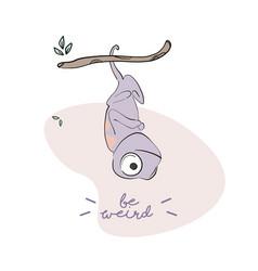 be weird iguana cartoon character lizard vector image