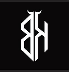 Bk logo monogram with horn shape isolated black vector
