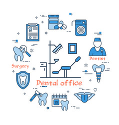blue round banner - dental office and equipment vector image