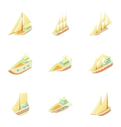 Boats icons set cartoon style vector