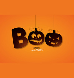 Boo happy halloween design with typography vector