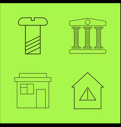 buildings ans construction simple linear outline vector image