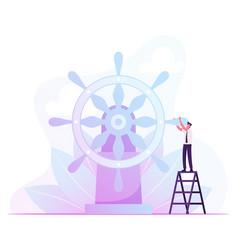 Businessman stand on ladder moving huge steering vector