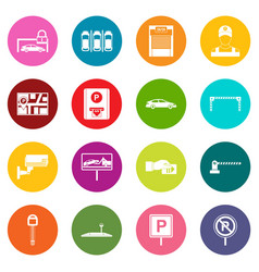car parking icons many colors set vector image