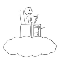 Cartoon of man and dreamer reading a book on a vector