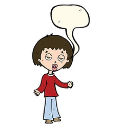 Cartoon tired woman with speech bubble vector
