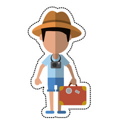 Cartoon tourist man photographic camera and vector