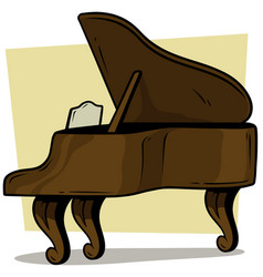 cartoon wooden brown grand piano icon vector image