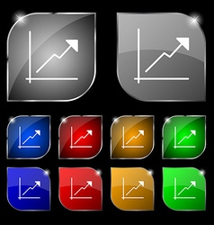 Chart icon sign Set of ten colorful buttons with vector image