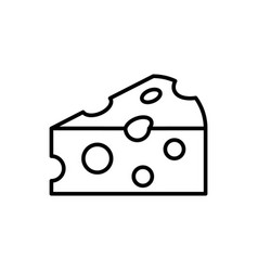 cheese outline icon on white background piece vector image
