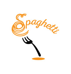 Chewy spaghetti with fork vector