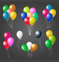 Colorful helium balloons set on transparent vector