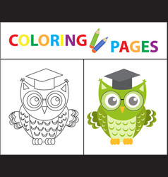 Coloring book page wise owl wearing glasses vector