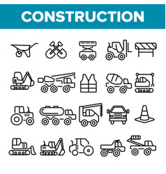 construction work elements linear icons set vector image