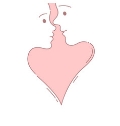 couple before a kiss hand drawn doodle style vector image