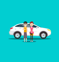 couple - man and woman with white car flat design vector image