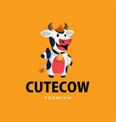 cow thumb up mascot character logo icon vector image
