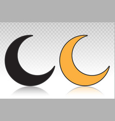 Crescent moon or night nighttime flat icon vector